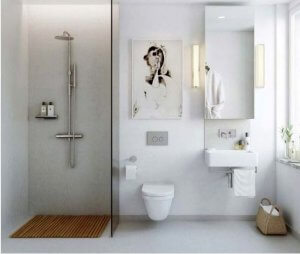 open shower and floating toilet