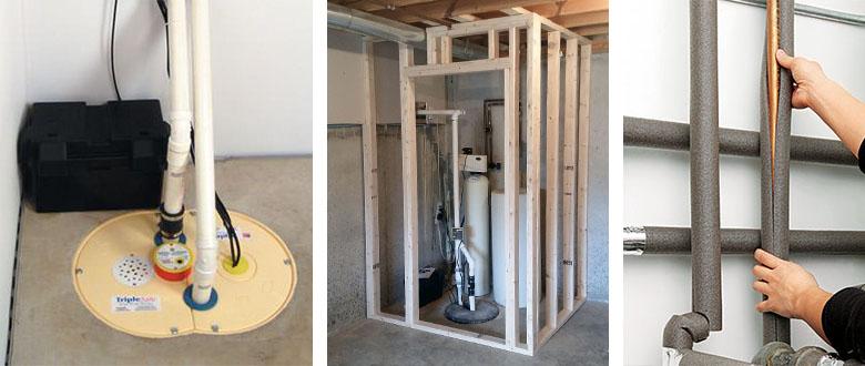 basement renovation sump pump framing pipe insulation